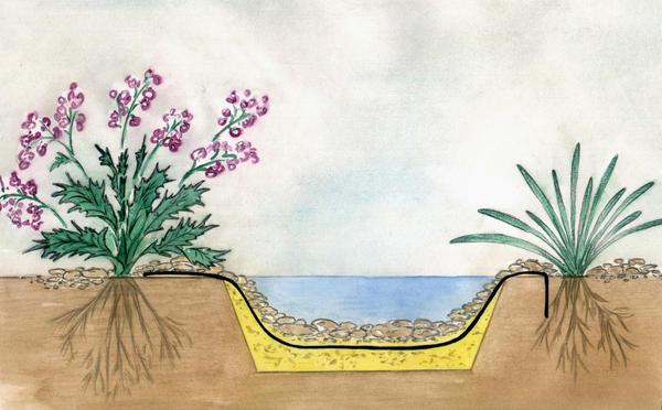 Под пленку по всему ложу ручья насыпают песок или подстилают геотекстиль