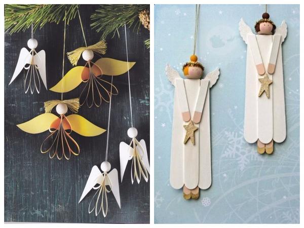 Фигурки ангелов из бумаги украсят рождественскую елку