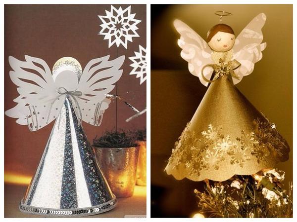 Фигурки ангелов из серебристой и золотистой бумаги