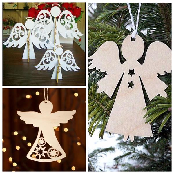 Фигурки ангелов из дерева или картона