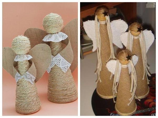 Фигурки ангелов из льняного шпагата и мешковины