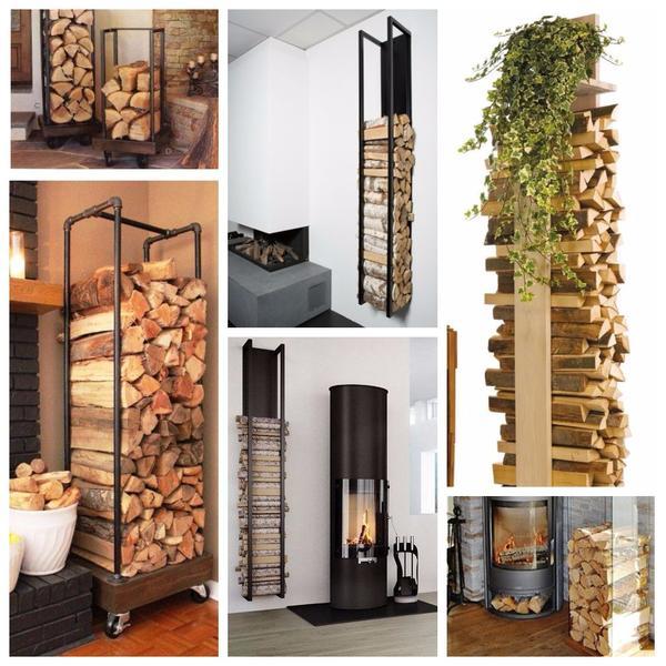 Элегантная вертикаль: практичные решения для хранения дров возле камина