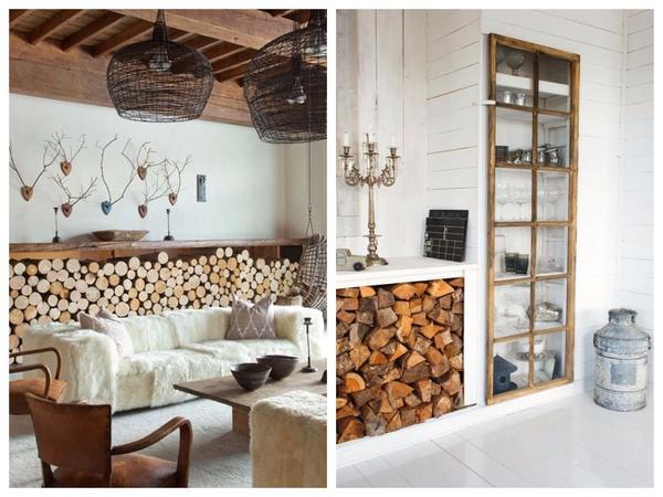 Подставки для дров могут одновременно служить мебелью