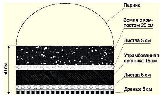 Еще один вариант наполнения теплой грядки. Изображение с сайта sadteplica.ru