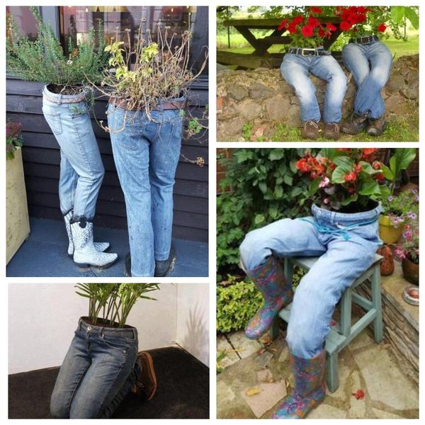 Экстравагантные садовые композиции из старых джинсов