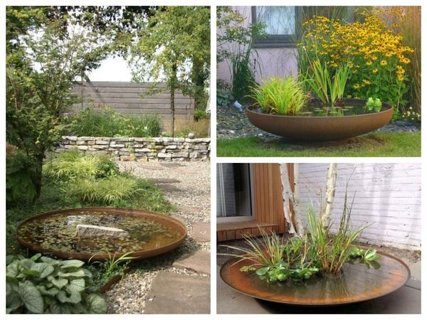 Берем максимально большую емкость, наливаем воду, ставим водные растения в горшках - готово!