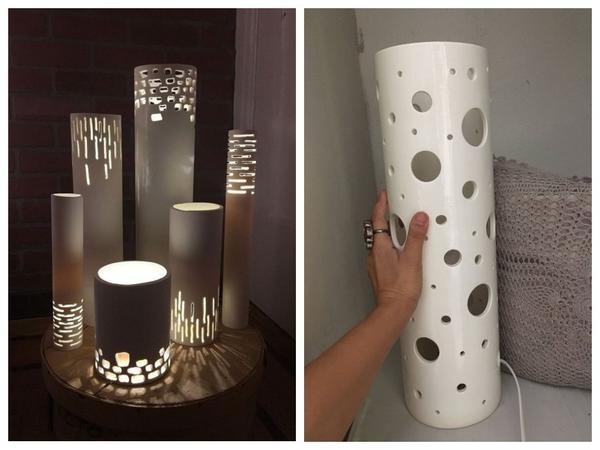 Необычные светильники из труб большого диаметра