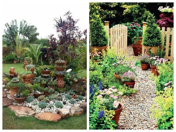 Используя растения в контейнерах, можно быстро менять облик отдельных цветников и всего сада
