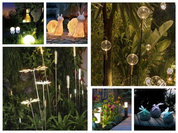 Необычные садовые светильники могут быть не только источником света, но и украшением ландшафта