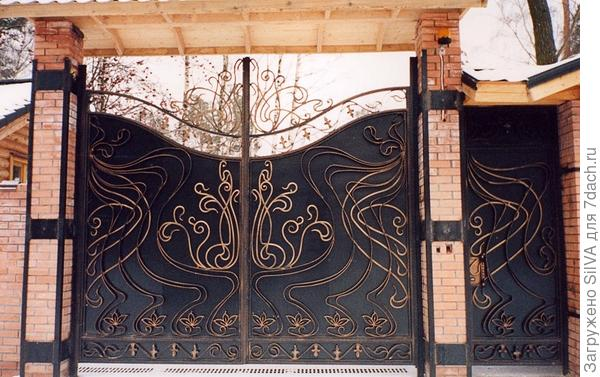 комбинированный кованный забор