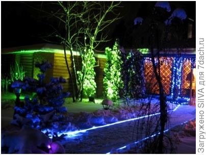 подсветка светодиодами дорожек в саду