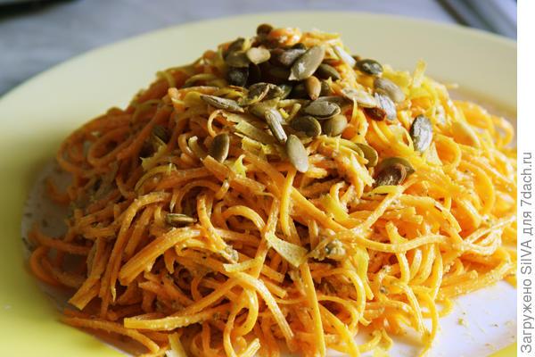 овощные спагетти из тыквы сквошь