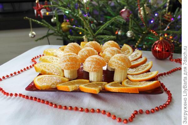 грибы из банана и мандаринов