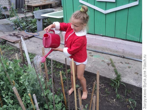 Ариша поливает грядки