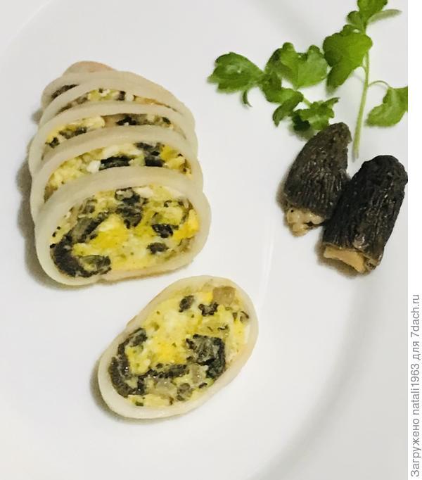Фаршированные кальмары с грибами, яйцом и сыром. Пошаговый рецепт с фото