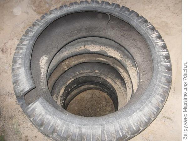 Сливная яма из автомобильных шин. Фото автора