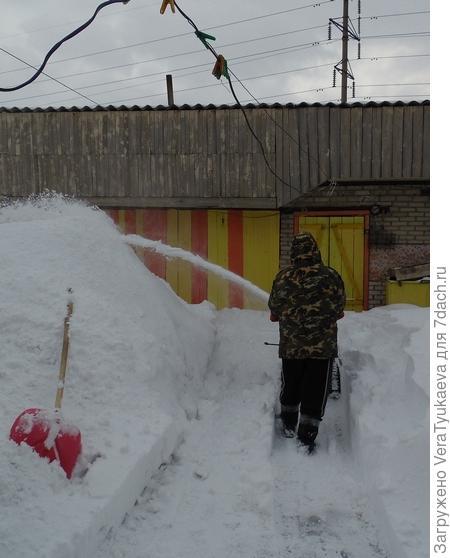 Очень много снега принес весенний буран.