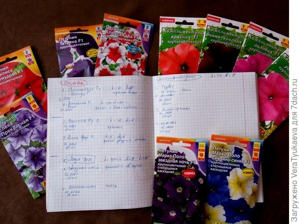 Вот все пакетики, а также записи в моей заветной тетрадочке.
