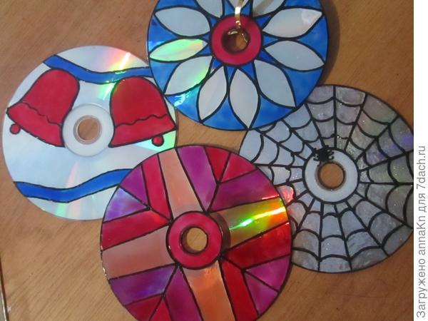 Витражные краски на CD диске