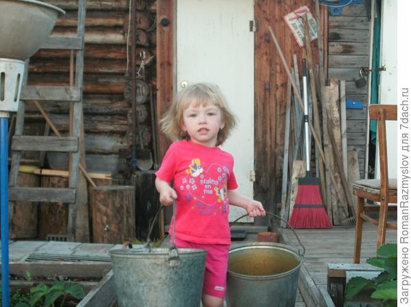 Мы любим помогать бабушке с дедушкой на даче