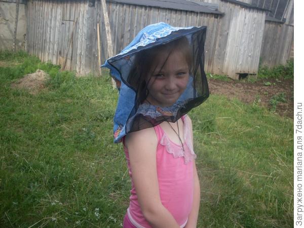 доча   помогает      собирать       мед     из   ульев