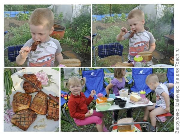 детки кушают на даче