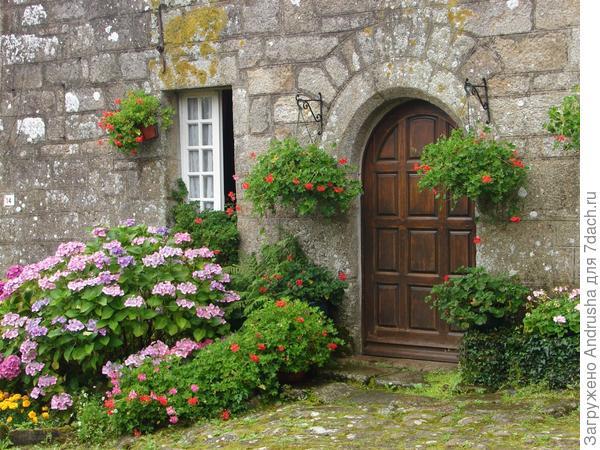 Оформление входа в дом геранью и гортензией