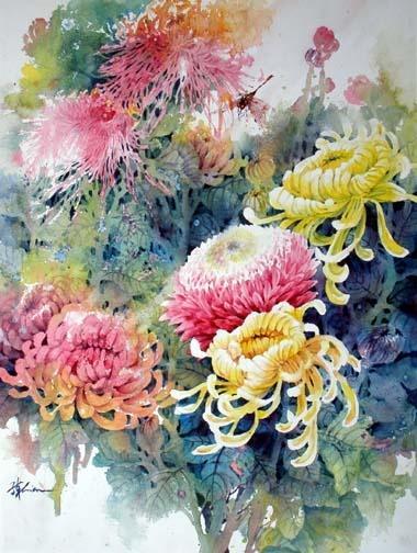 Акварель с хризантемами