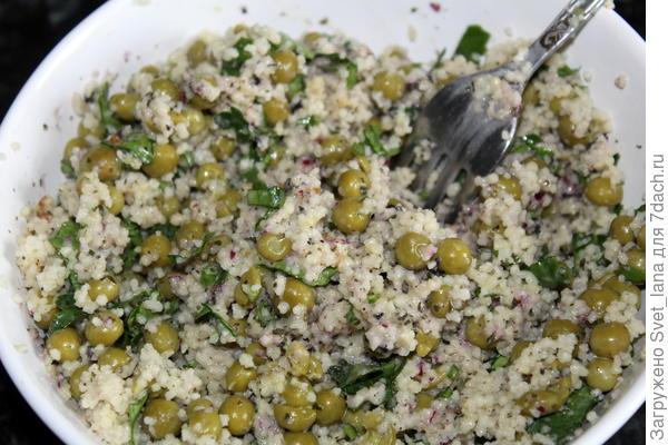 Салат из кускуса с зеленым горошком - пошаговый рецепт приготовления с фото
