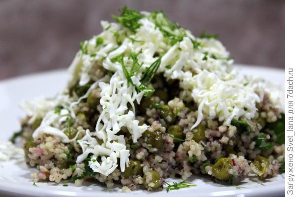 Салат из кускуса с зеленым горошком