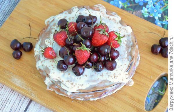 Шоколадный блинный тортик — быстро и вкусно