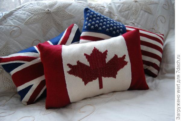 Подушки: флаг Канады, США (Америки), Великобритании (Англии)