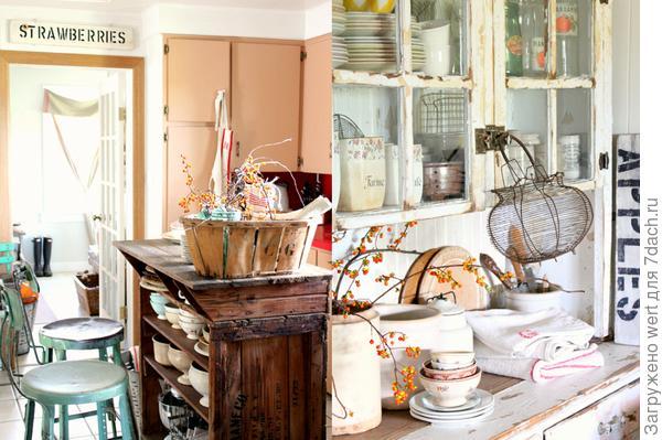 Кухня в стиле шебби-шик на даче
