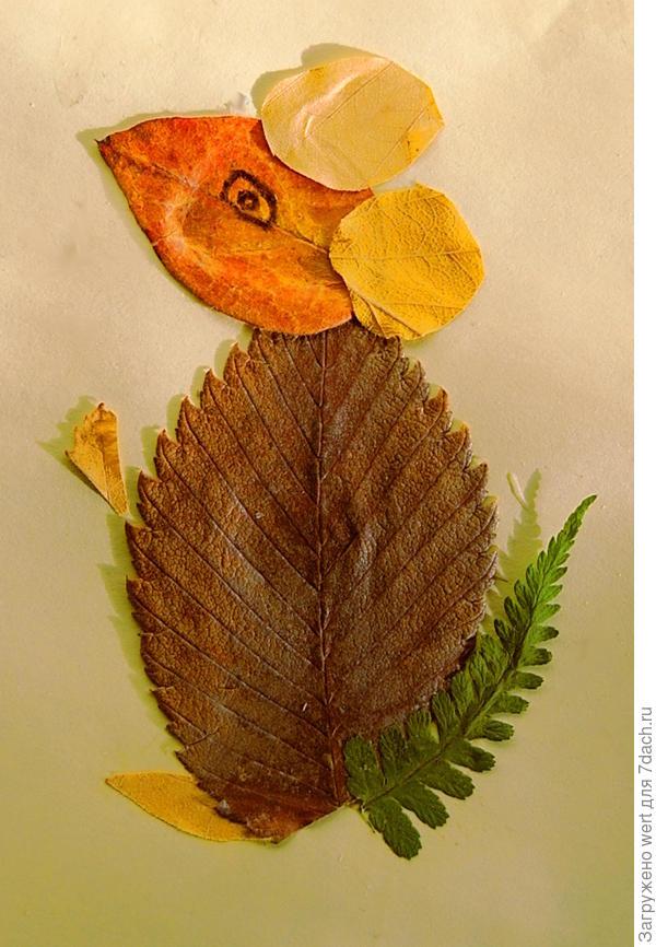 Аппликация из осенних листьев мышь (мышонок)