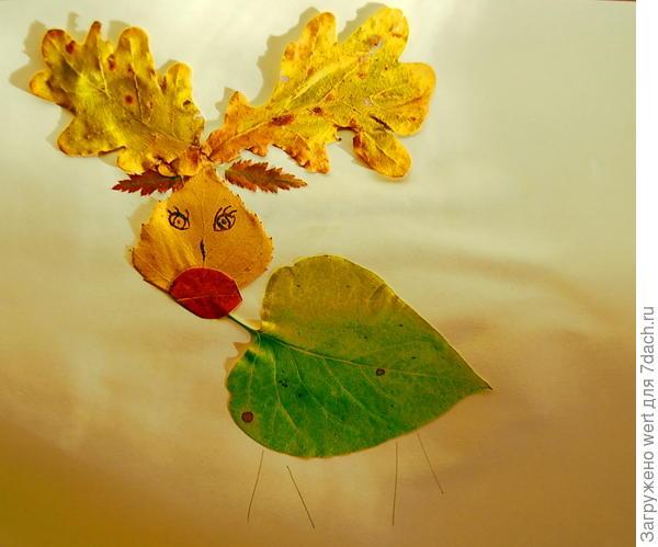 Аппликация из осенних листьев — лось