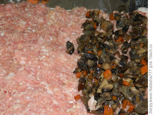 фарш и грибы слоями