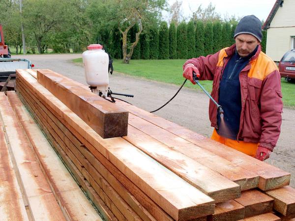 Какой антисептик выбрать? NICA, LATVIA - OCTOBER 9, 2016: Adult man worker is impregnating stacked timber with preservative liquid by garden sprayer. Автор: Grandpa / Shutterstock.com