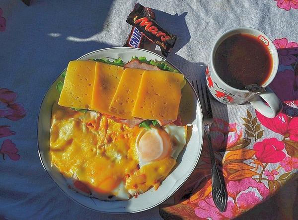 Яичница с помидорами, шпинатом и сыром