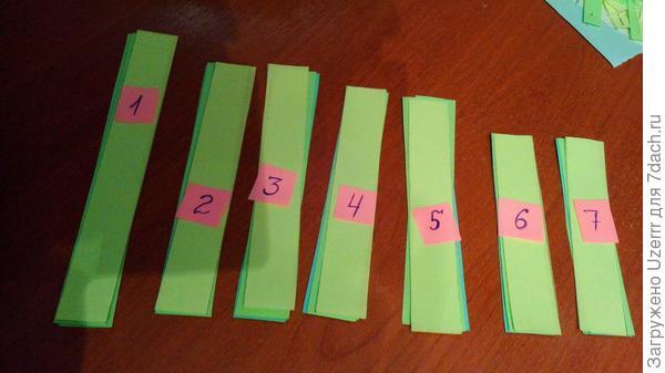 следующим этапом мы разделяем  формат А5(половинку разрезанную,под которым наши слои бумаги,всего 4 слоя) на полосочки шириной 2 см,при помощи линейки и карандаша. разрезаем их на полосочки(включая все 4 слоя бумаги) я их специально пронумеровала сверху бумажками,чтоб далее удобнее описывать..