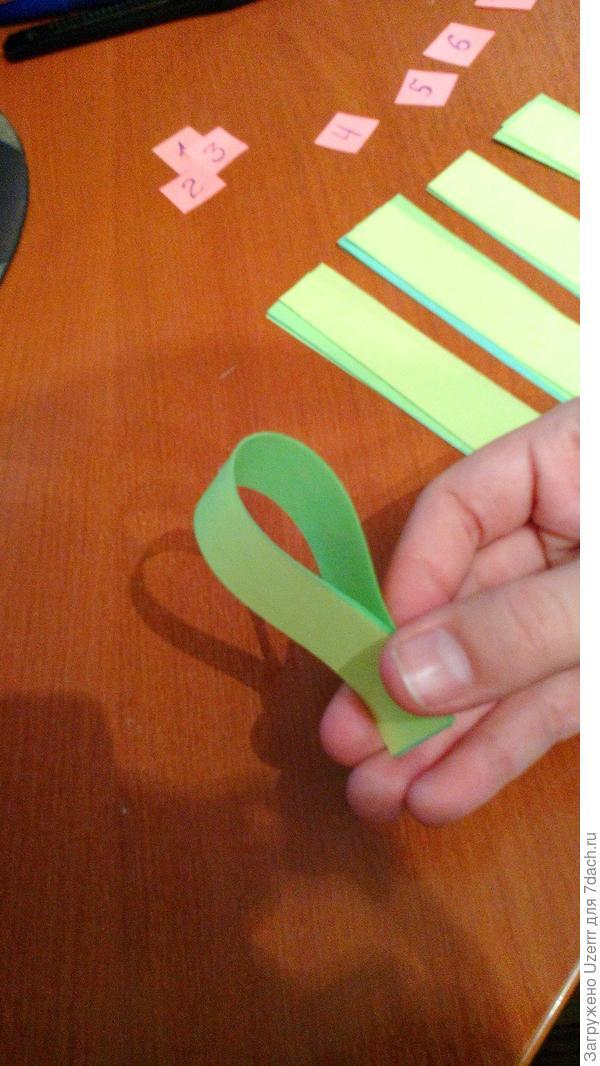 берем полосочку номер 1 и соединяем кончики(придерживаем) У нас получится форма капли.