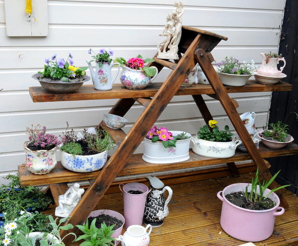 Вариант использования старой кухонной утвари для посадки растений