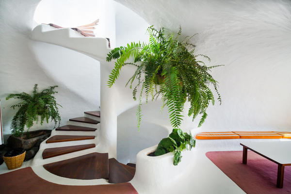 Навесная корзина с растениями