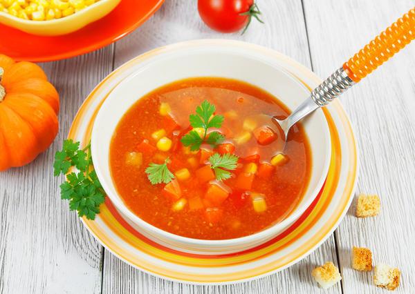 Суп кукурузный с тыквой и перцем