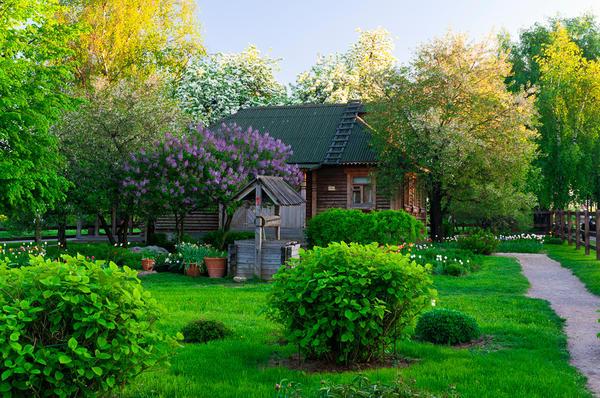 Сад в стиле русской усадьбы Красивый деревенский дом