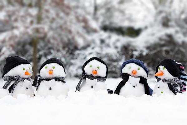 Очень милое семейство снеговиков