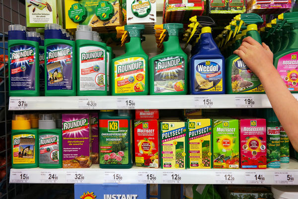 STAVELOT, BELGIUM - MAY 6, 2016: Shelves with a variety of Pesticides in a Carrefour Supermarket. Roundup is a brand-name of an herbicide containing glyphosate, made by Monsanto