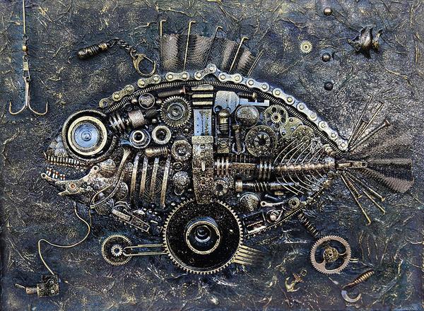 """Панно в стиле """"Стимпанк"""". Рыба © Евгений Мухортов / Фотобанк Лори"""