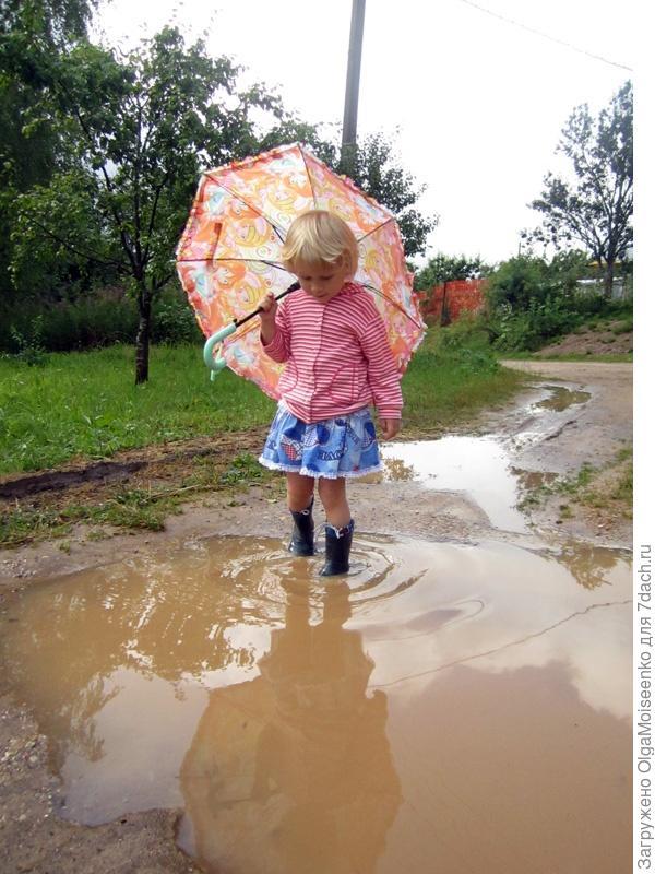 Поля в луже и под зонтиком