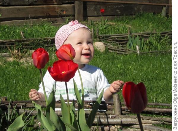 Полина в тюльпанах