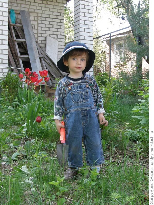 Мальчик в шляпе с совком в руке.